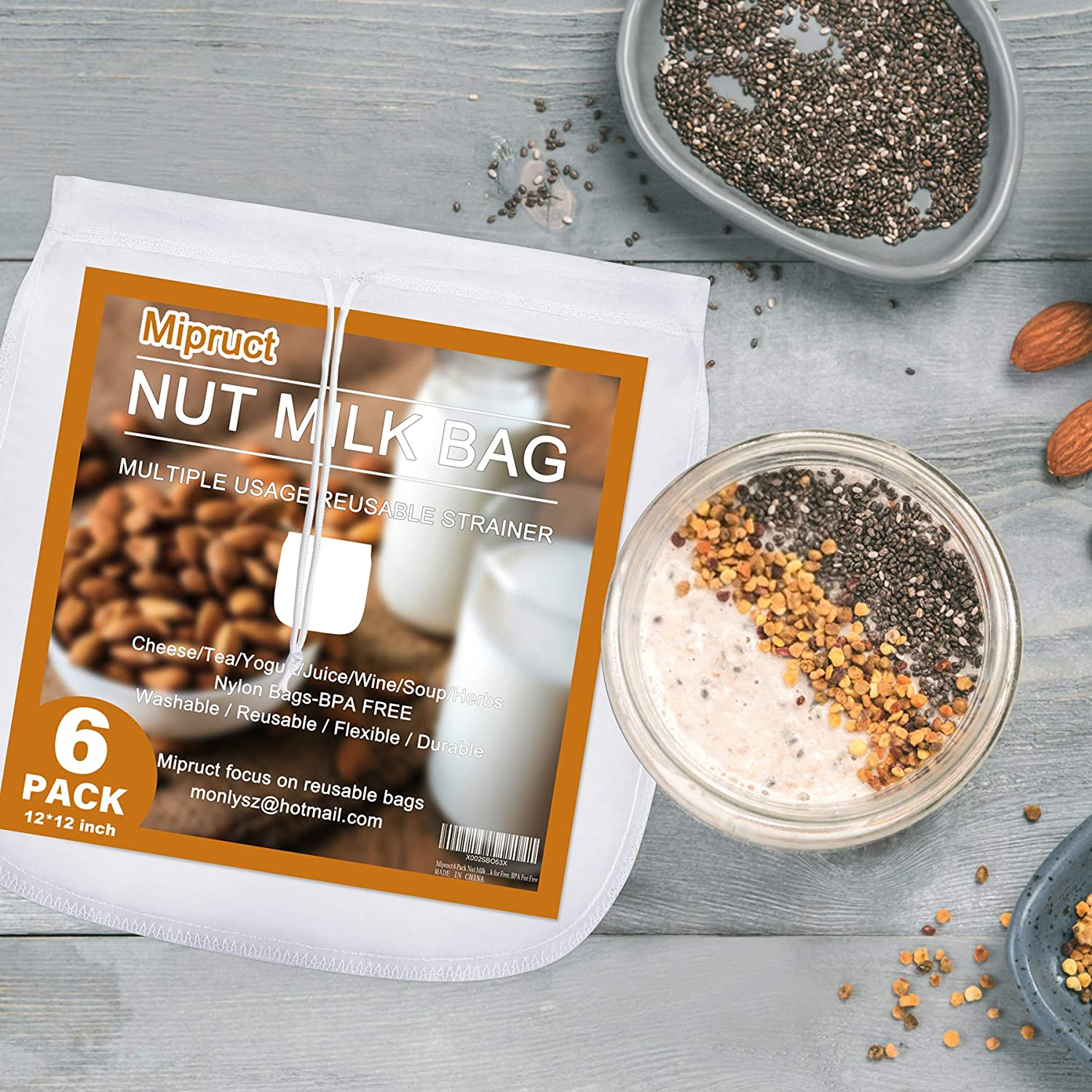 Mipruct 6 Pack Nut Milk Bag for straining reusable,12''×12'' Nut Bag for straining, Nylon strainer bag with heavy-duty Hook for Free, BPA For Free