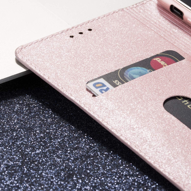 Nadoli Glitter Coque pour Galaxy S6,Luxe Fille Femme Brillante Bling Cuir PU Magnétique Portefeuille Housse Étui à Rabat pour Samsung Galaxy S6 Violet