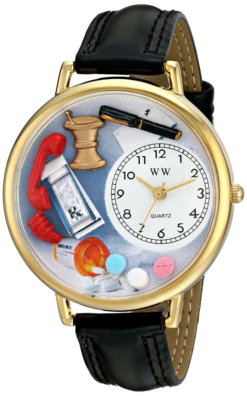 Whimsical Watches WHIMS-G0620014 - Reloj analógico de Cuarzo Unisex con Correa de Piel, Color Negro