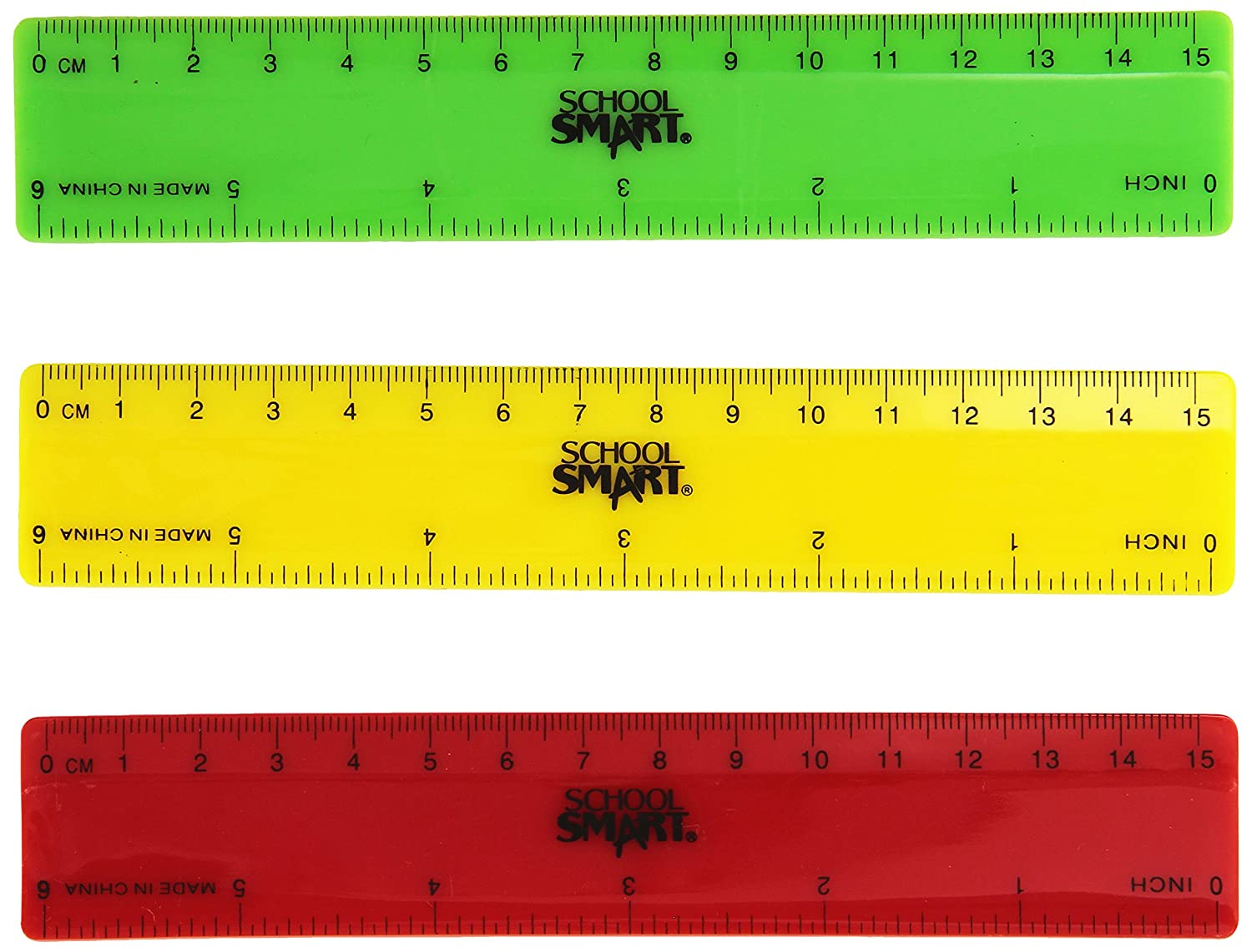 "School Smart 1473613 Plastic Ruler, 6"", Assorted Colors (Pack of 6)"