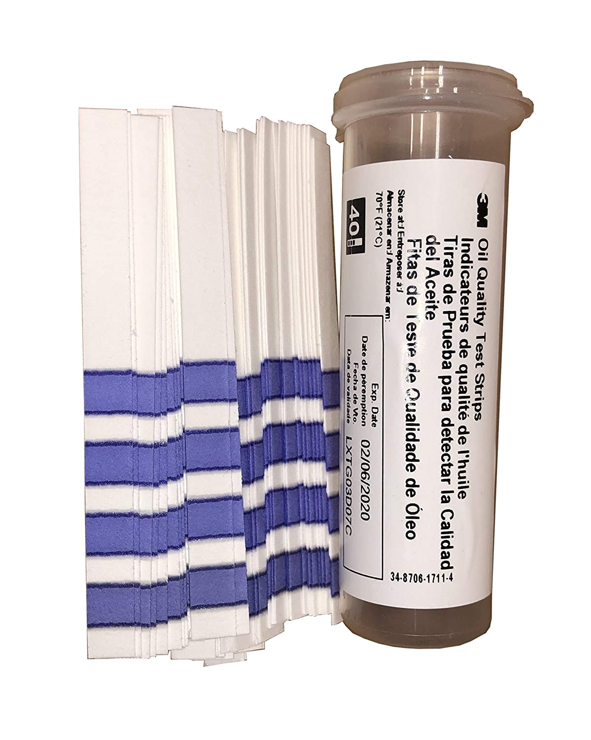  3M Frying Oil Quality Test Strips Kit, 1010 FMP 133-1232, Monitor Shortening Quality, Prevent Poor Food Quality with Shortening Quality Oil Test Paper, 1 Bottle of 40 Oil Test Strips