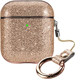 ALADRS Bling Hard Cover Compatiable with Glitter Airpod Case (Front LED Visible), for Apple AirPods 2nd / 1st, Rose Gold