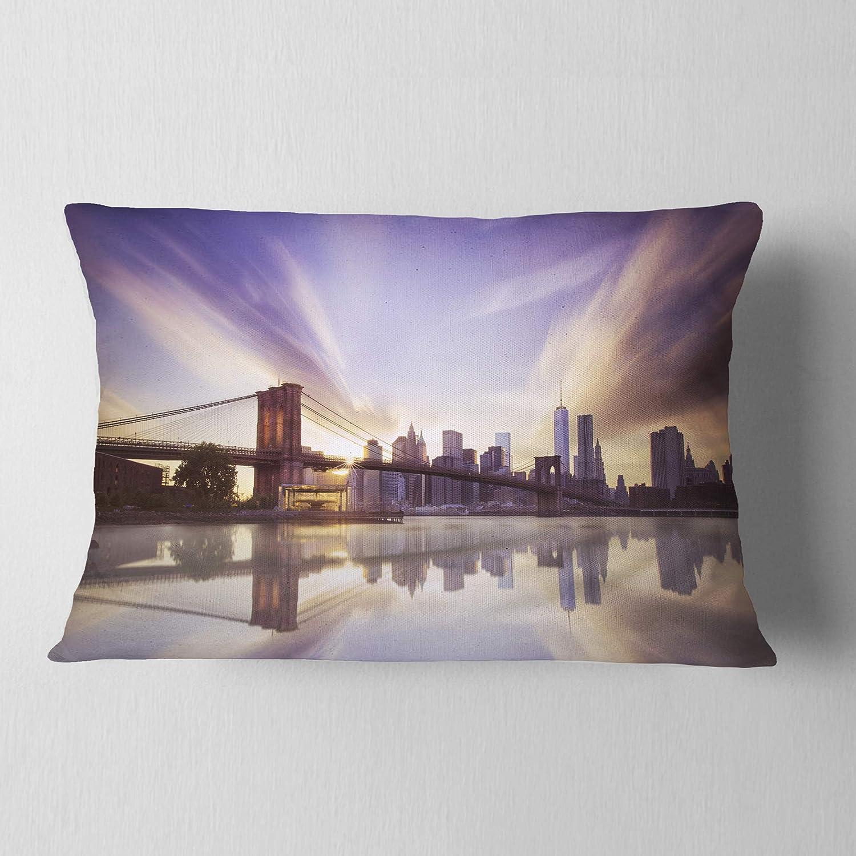 Designart CU9430-12-20 Purple Sky Over Brooklyn Bridge Cityscape Photo Lumbar Cushion Cover for Living Room in Sofa Throw Pillow 12 in x 20 in