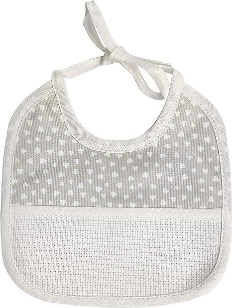 babero de recién nacido con corazones – Cierre con cordones – 100% Algodón, 16 x 16 cm crema: Amazon.es: Bebé