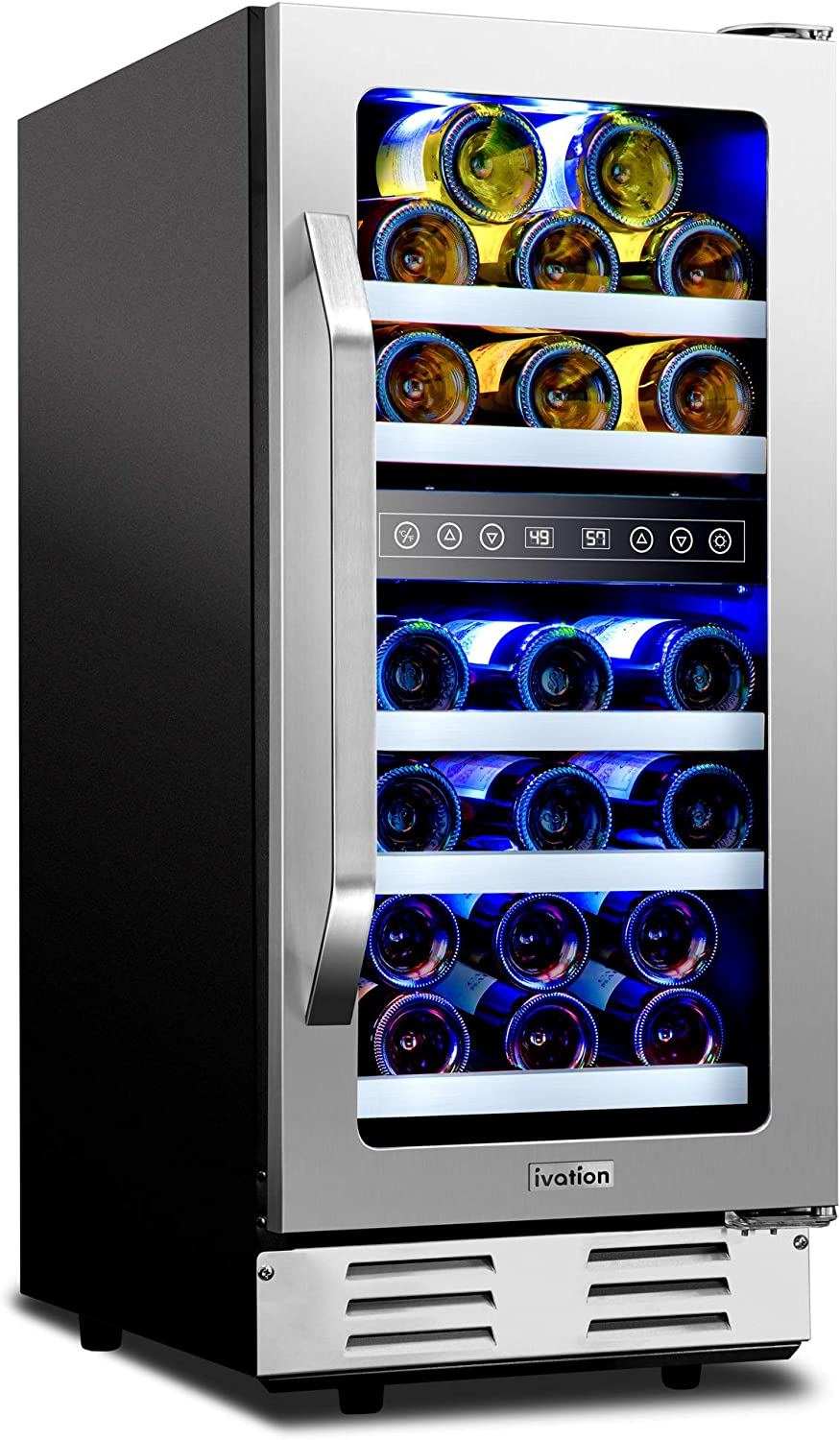 "Ivation 29-Bottle Dual-Zone 15"" Built-In Compressor Wine Cooler/Cellar Undercounter Wine Fridge, Temperature Control 40°-50°F/50°-66°F Refrigerator, Quiet Operation, LED Light, Glass & Stainless Steel"