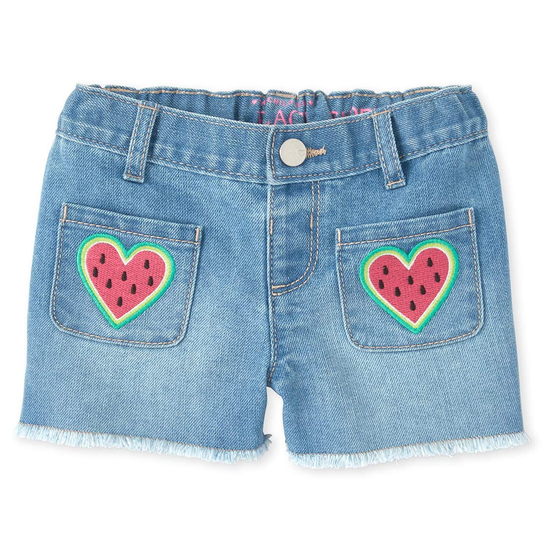 The Childrens Place Baby Girls Printed Denim Shorts