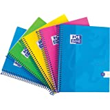Oxford Touch A5 160 Page Wirebound Hardback Notebook Assorted Colours, Pack of 5