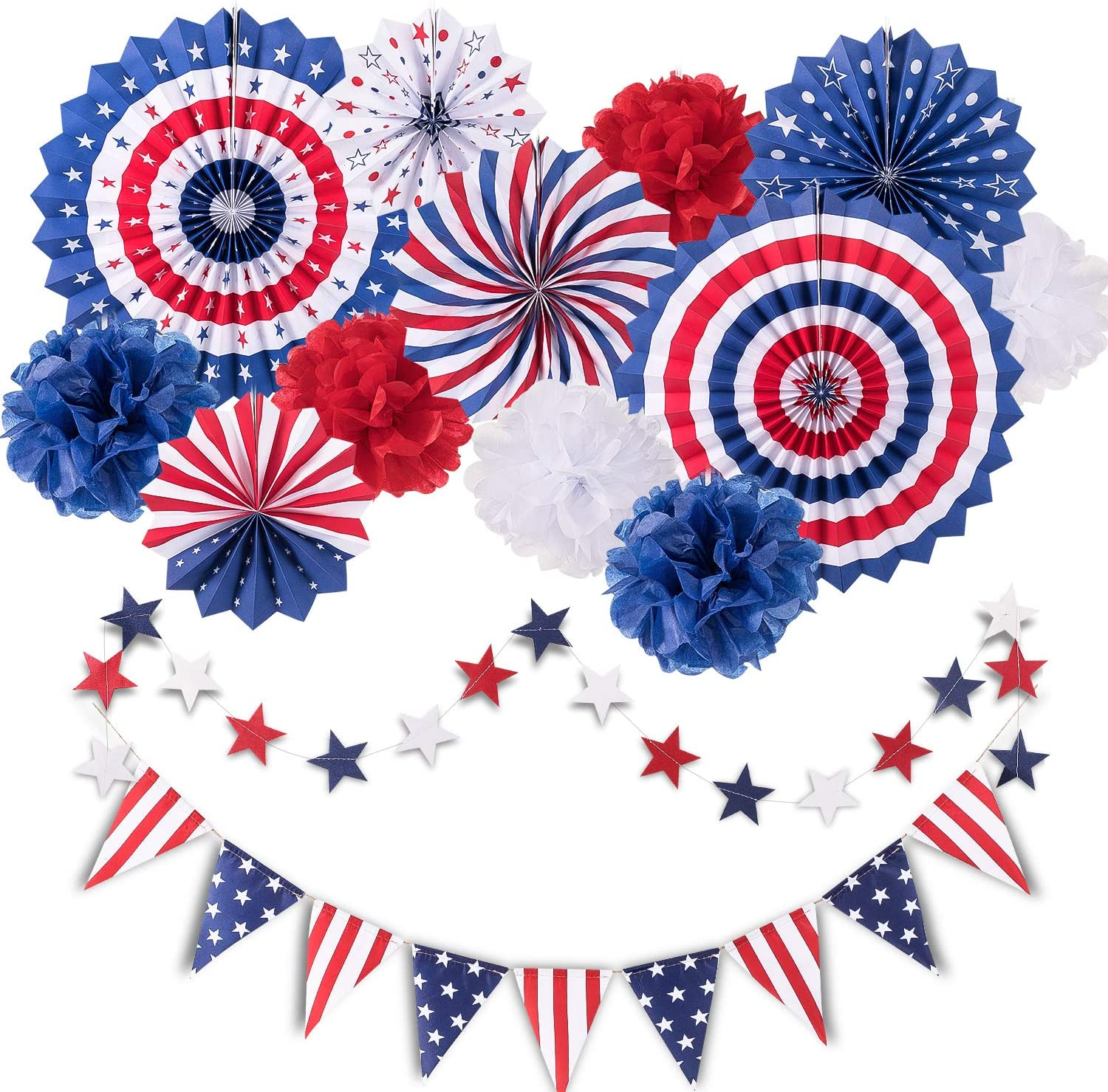 Amazon Com Whaline 14pcs Patriotic Party Decorations Set 4th Of July American Flag Party Supplies Hanging Paper Fans Paper Flower Balls Star Streamers Usa Flag Pennant Bunting Party Favors Arts Crafts Sewing