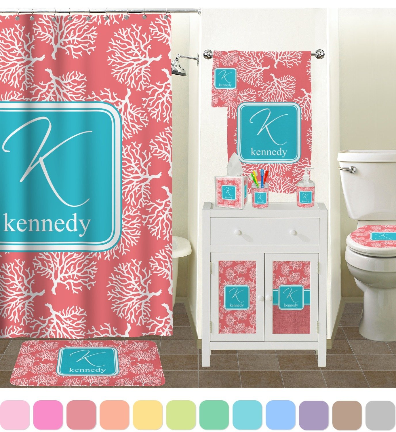 aqua coloured bathroom accessories. Amazon Com  Coral Teal Bathroom Accessories Set Ceramic Personalized Home Kitchen
