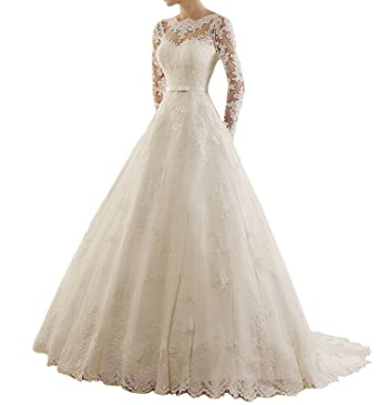Miao Duo Womens Jewel Applique Lace Long Sleeve Wedding Dress Vestido De Novia