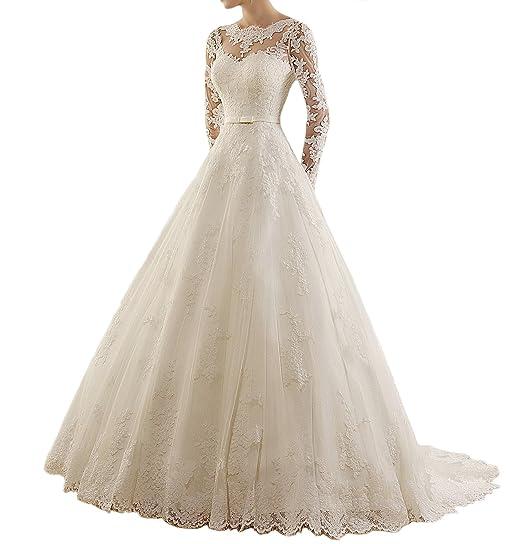 Miao duo Womens Jewel Applique Lace Long Sleeve Wedding Dress Vestido De Novia