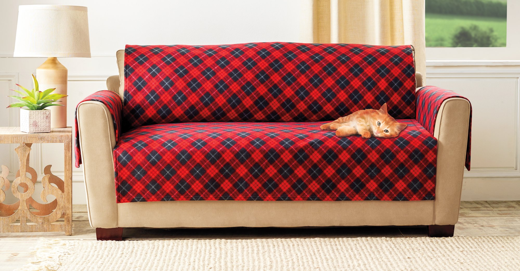 The Paragon Furniture Cover - Loveseat or Small Couch Furniture Protector, Soft Plaid Fleece Fabric, Small Sofa Cover Protects Fabric from Pet Stains and Every Day Wear