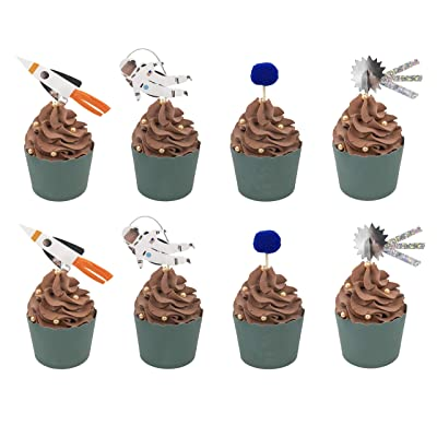 Set of 24 WallyE Astronaut Planet Rocket Cupcake Toppers for Outer Space Themed Birthday Party: Toys & Games