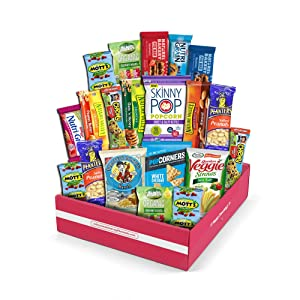 Snack Box Variety Pack, (20 Count)Valenteins Candy Gift Basket - College Student Care Package, Thanksgiving, Xmas Food Arrangement Chips, Cookies, Bars - Birthday Treats for Adults,