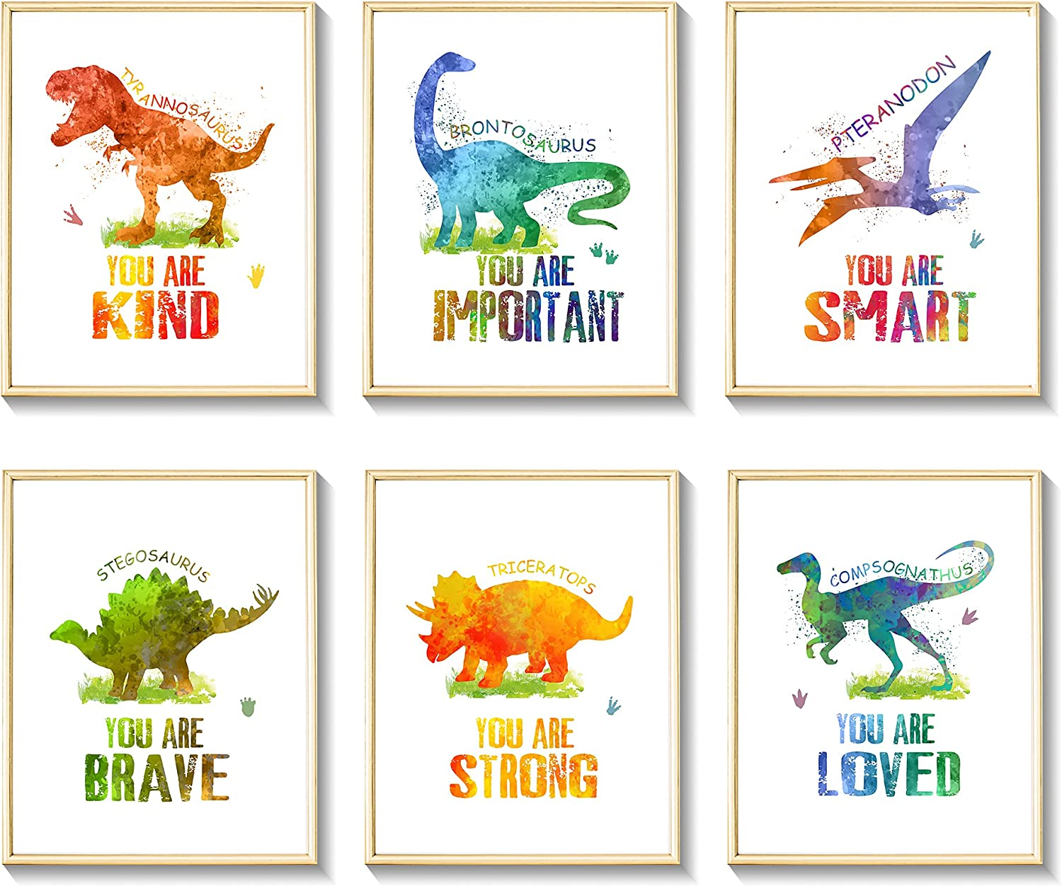 Dinosaur Wall Art Posters, Watercolor Dinosaur Wall Decor Prints, 6 Pcs 8 x 10 inch Unframed Motivational Quote Room Decor Photo Pictures for Kids Boys Nursery Bedroom Decorations