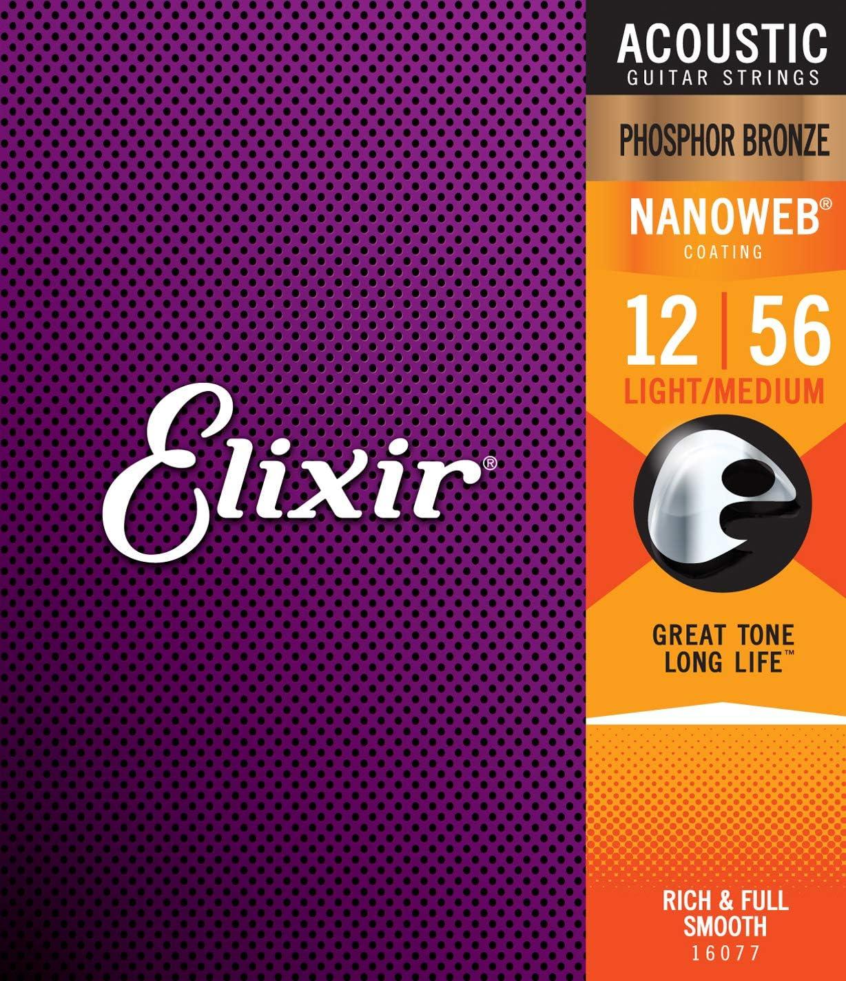 Elixir 16077 - Juego de cuerdas para guitarra acústica de fósforo/bronce.012-0.056