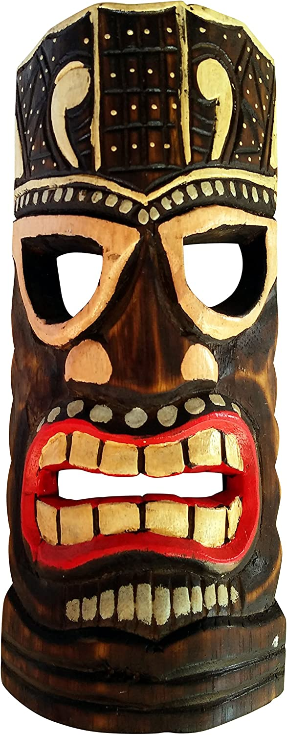 Seaside Accents Colorful Tiki Mask Wall Decor - Painted Wood, 12 Inches