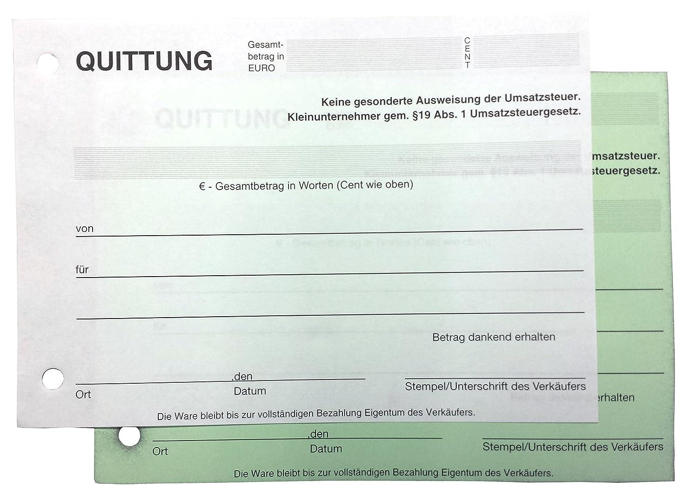 10x Block Quittung Quittungsblock Für Kleinunternehmer 19 2 X