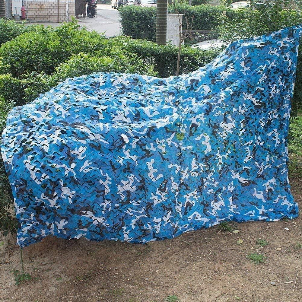 WJX Jard/ín Sombrilla Camuflaje Azul Impermeable UV Toldo Toldo Protector Solar Terraza Al Aire Libre Fiesta Jard/ín Piscina