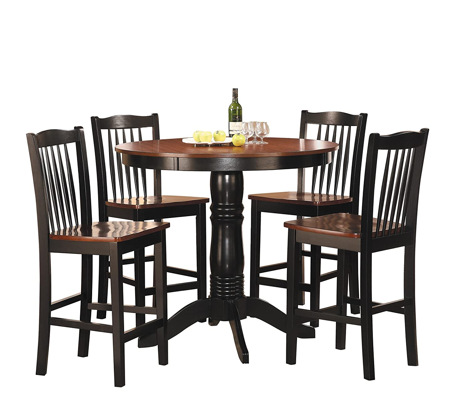 Amazon com homelegance 2458 36 5 piece round counter height dining set kitchen dining