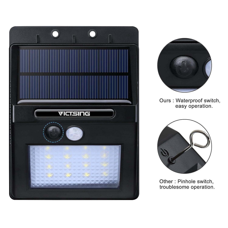 VicTsing 2 Packs Luces Solares LED de Pared con Sensor Movimiento, Detector Activado Lámpara Exterior para Jardín Patio Camino de Entrada Escaleras ...