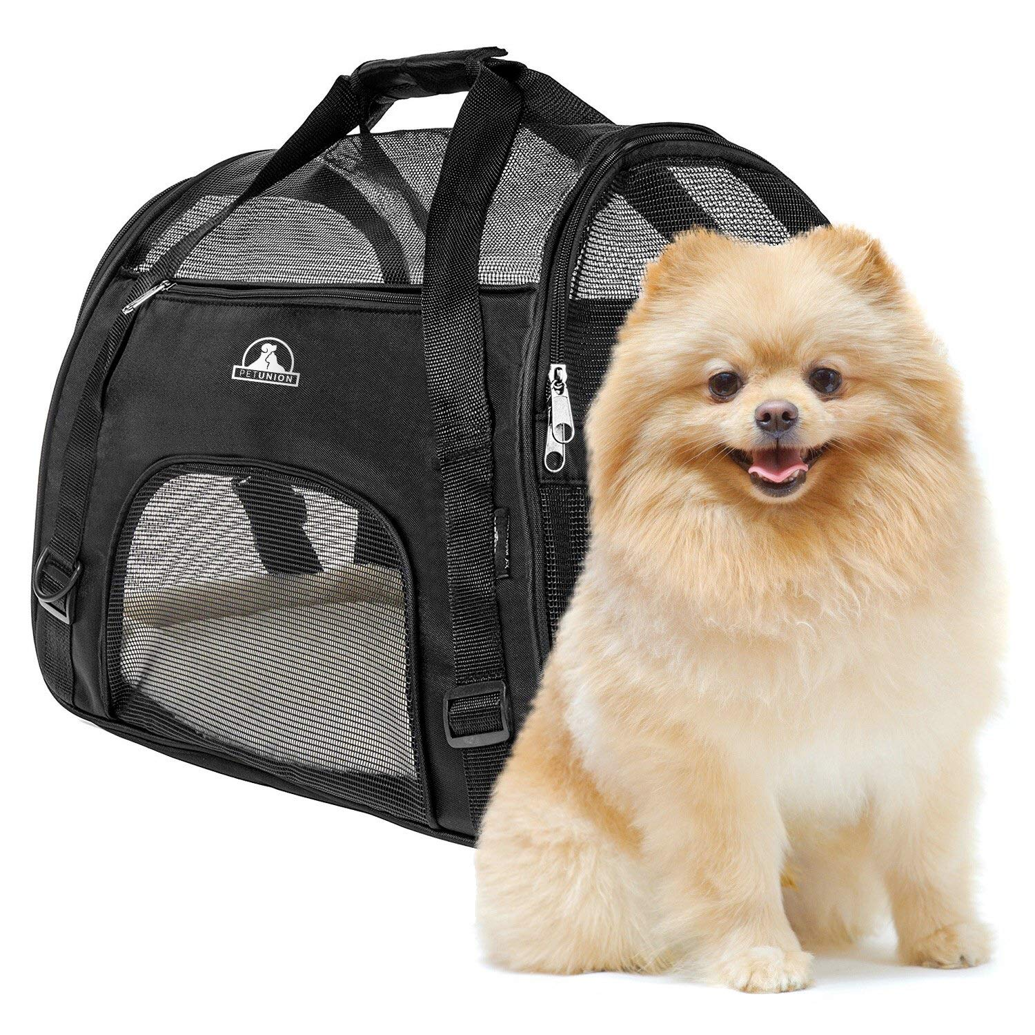 Pet Union Pet Carrier for Small Dogs, Cats, Puppies, Kittens, Pets (up to 10 lbs) Collapsible, Travel Friendly, Cozy and Soft Dog Bed, Carry Your Pet Safely and Comfortably (16.9 x 8.3 x 11 Inch) by Pet Union