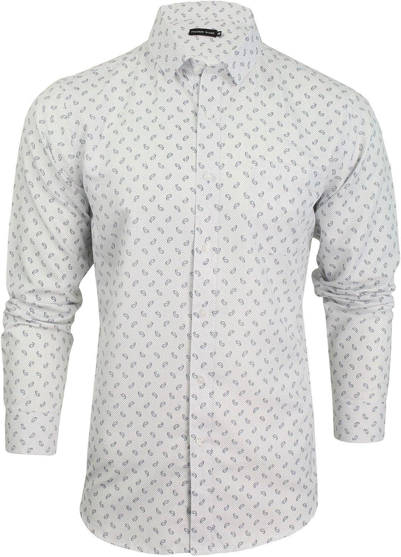 Process Black - Camisa Casual - Paisley - Clásico - Manga Larga - para Hombre Blanco Blanco (Optic) X-Large: Amazon.es: Ropa y accesorios