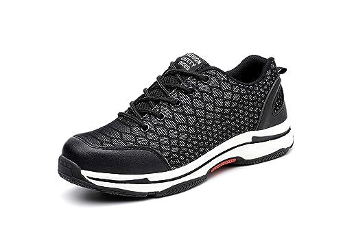 Aizeroth-UK Unisex Hombre Mujer Zapatillas de Seguridad con Punta de Acero Antideslizante S3 Zapatos de Trabajo Comodas Calzado de Trabajo Deportivos Botas ...