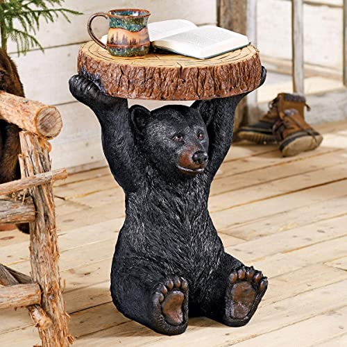 Black Forest D cor Black Bear Sculpture Accent Table Rustic Cabin Bear Table