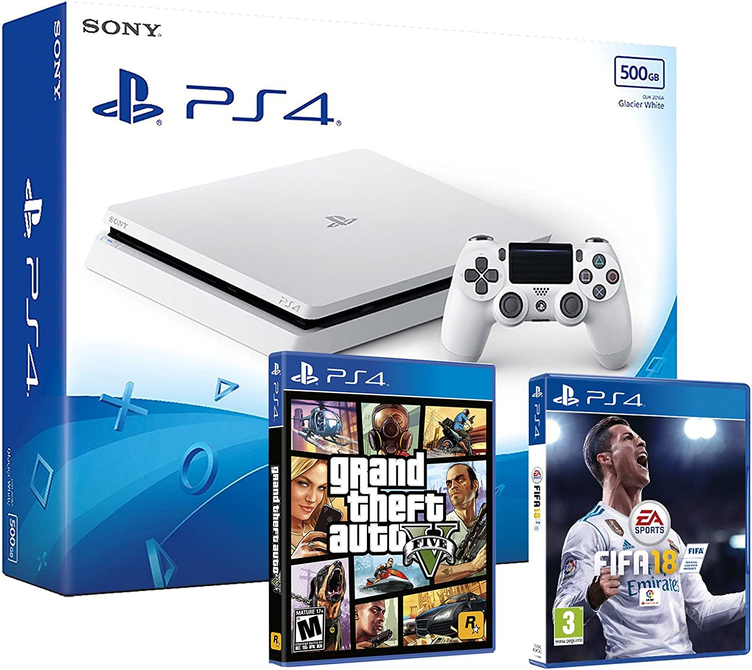 PS4 Slim 500Gb Blanca Playstation 4 Consola - Pack 2 Juegos - FIFA 18 + GTA V: Amazon.es: Videojuegos