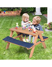 Costzon Kids Picnic Table, Solid Wood Bench Set up to 4 Seat, Unfinished - Choose Your Favorite Finish Color- Children Play Table Outdoor Garden Yard w/Padded Cushions