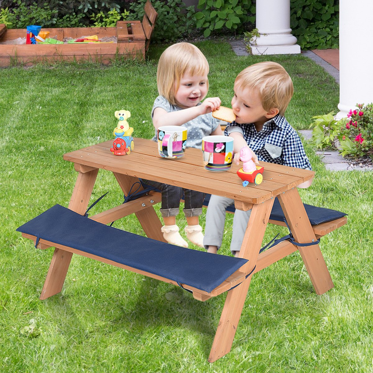 Costzon Kids Picnic Table, Solid Wood Bench Set up to 4 Seat, Unfinished - Choose Your Favorite Finish Color- Children Play Table Outdoor Garden Yard w/Padded Cushions by Costzon