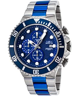 Invicta Mens 50mm Pro Diver 90081 Chronograph Two Tone Stainless Steel Blue Quartz Watch