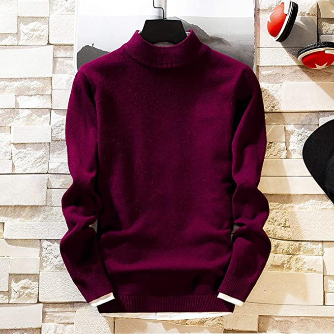 Spirio Men Solid Color Turtleneck Knit Long Sleeve Slim Fit Pullover Sweaters