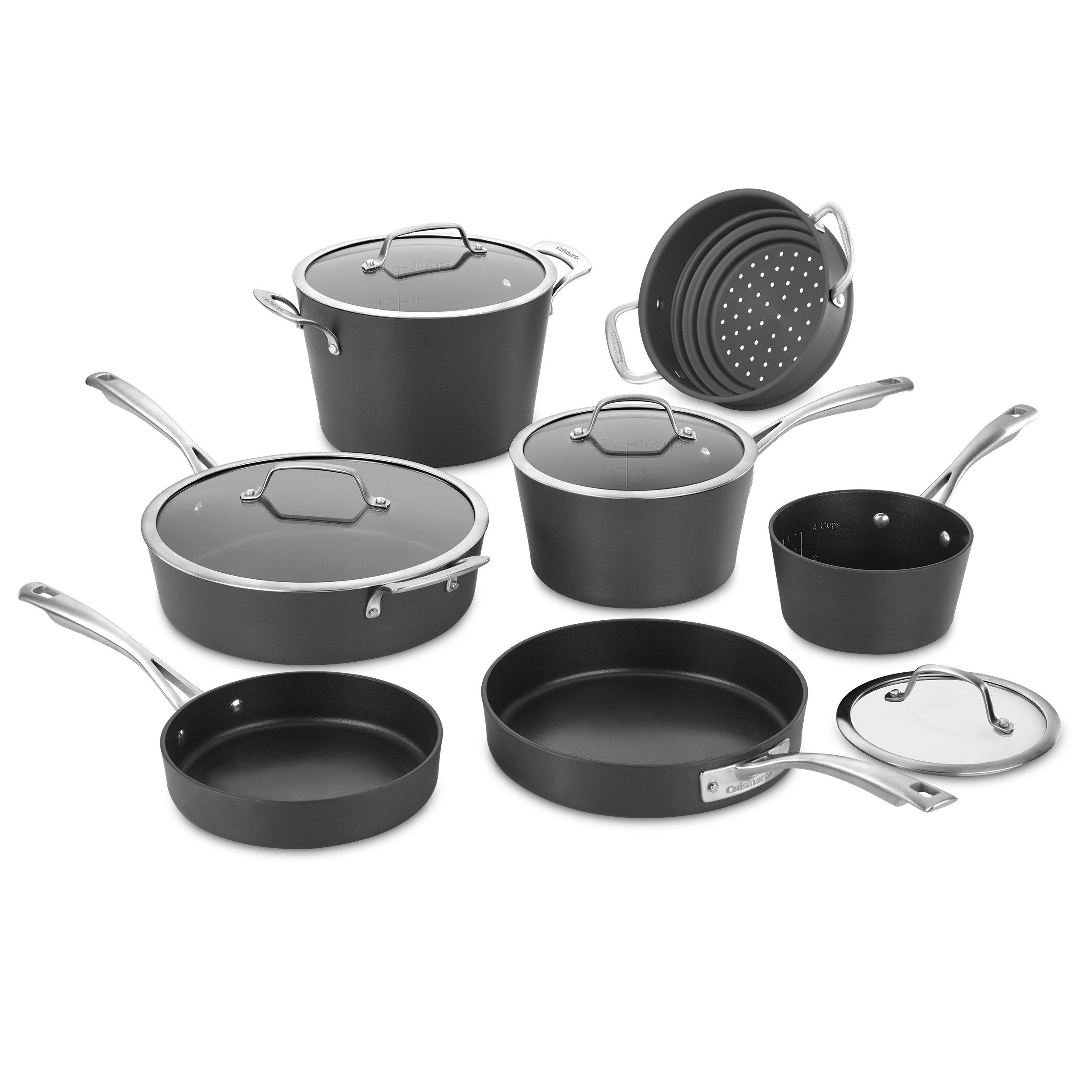 Cuisinart 62I-11 Conical Hard Anodized Cookware Set, Medium, Black