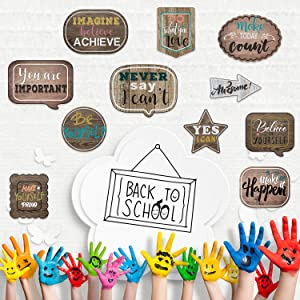 Home Sweet Classroom Decoration Positive Sayings Accents Motivational Inspirational Signs Cutouts Motivational Cards with Glue Point Dots for Bulletin Board Class Office Nursery Home Decor (30 Pieces)