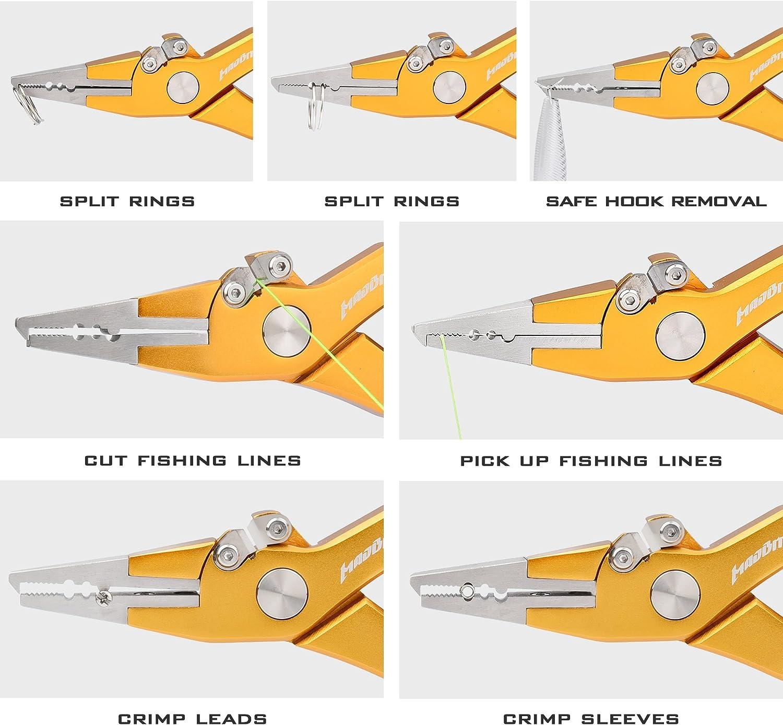 Schnur Hakenentferner SHADDOCK Aluminium-Angelzange Schneidwerkzeug tragbares Angelzubeh/ör mit hochelastischem Handseil und Taschentasche