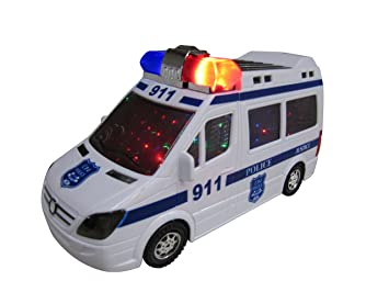 police car toy for kids with colorful flashing lights and sirens sounds and talks