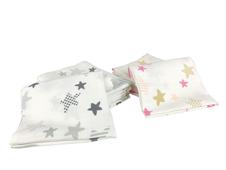 10 toallas de lactancia para bebé de algodón, 80 x 70 cm, certificado Öko-Tex rojo 10 Herzchen: Amazon.es: Bebé