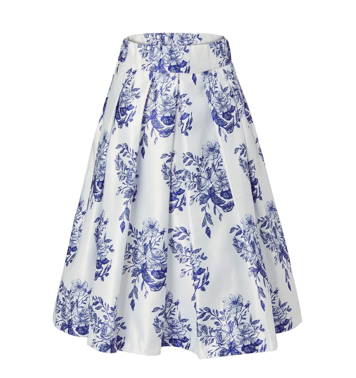 Alistyle Women Midi Dress Porcelain Print High Waist Pleated Swing A-Line Flared Skater Skirts