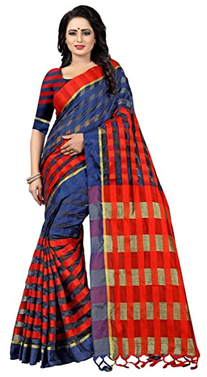14082964d1 Ethnic Yard Women Blue Ora Dhupian Fabric Saree With Unstitched Blouse  Piece: Amazon.in: Clothing & Accessories