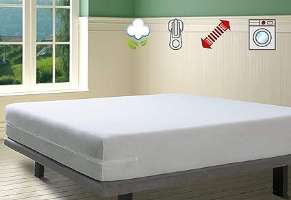 Savel - Funda de colchón elástica de Algodón | 150 x 190/200cm | Protector de colchón con cremallera. Tejido de rizo 100% Algodon muy absorbente y ...