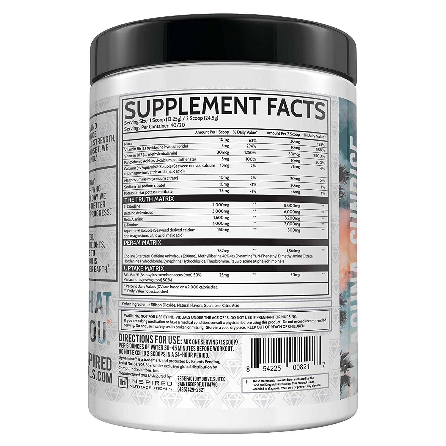 Inspired Nutraceuticals DVST8 White Diamond Reserve Extreme Focus, Pump, and Energy Pre-Workout Powder Citrulline, Betaine, Dynamine, Astragin, Electrolytes Laguna Sunrise 40 Servings
