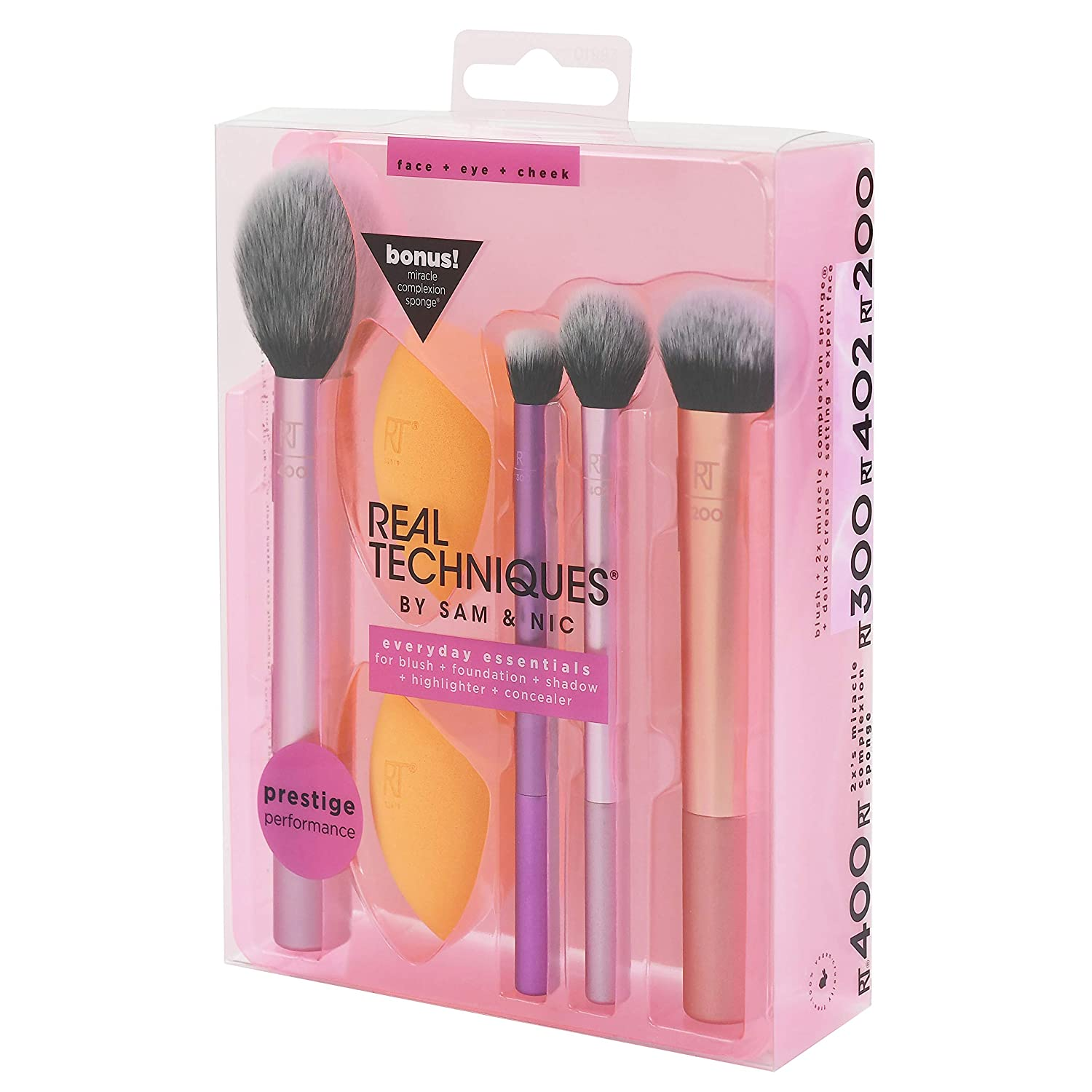 Real Techniques Makeup Brush Set with 2 Sponge Blenders for Eyeshadow, Foundation, Blush, and Concealer, Set of 6: Beauty