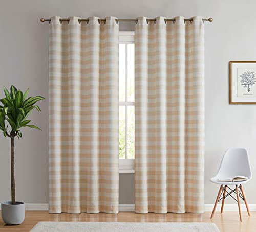HLC.ME Hilltop Buffalo Check Textured Light Filtering Grommet Lightweight Window Curtains Drapery