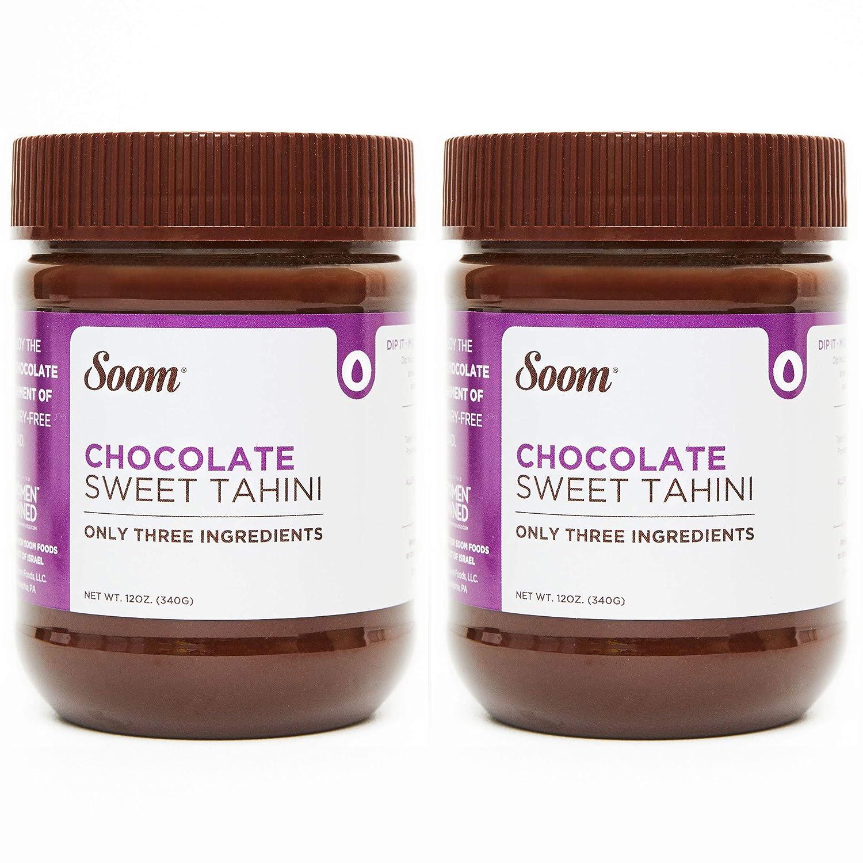 Soom Foods Chocolate Tahini Halva Spread 12oz (Pack of 2)  Silky Smooth Texture for Baking, Desserts, Hummus   Vegan, Nut-Free, Gluten-Free