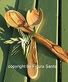 posate per insalata PRIMAVERA, ca. 30 cm - in legno d'ulivo oleato. Squisita venatura, lavorazione artigianale.