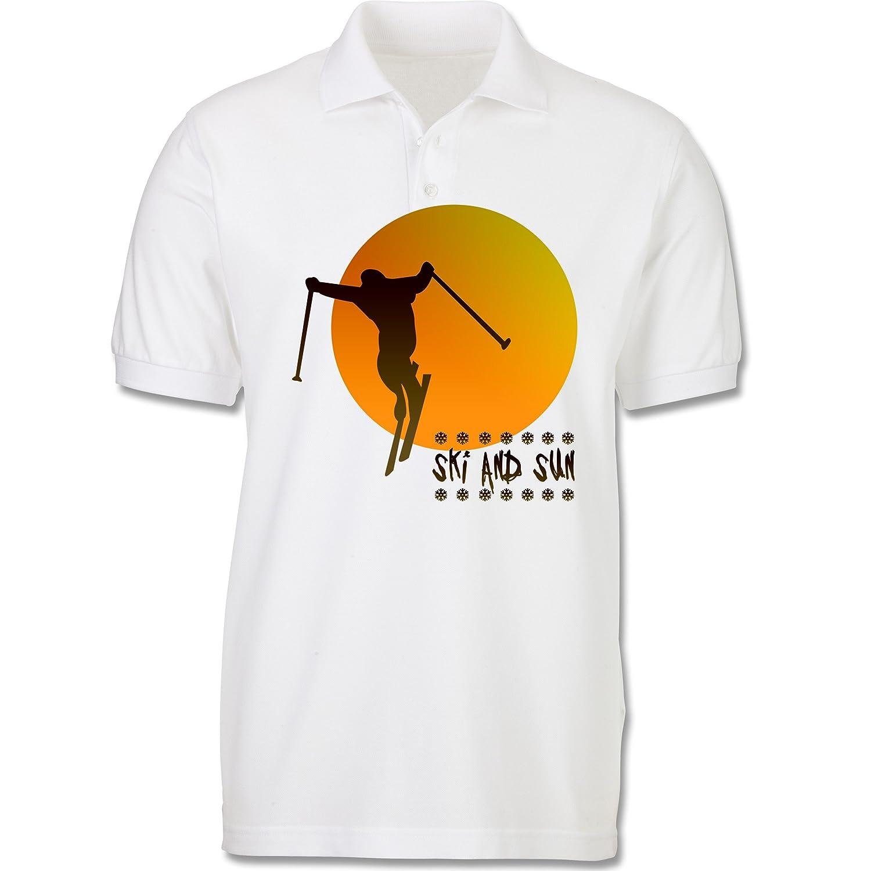 Sport Kind - Ski and Sun - Skifahrer - Poloshirt kurzarm Piqué aus Baumwolle für Mädchen und Jungen