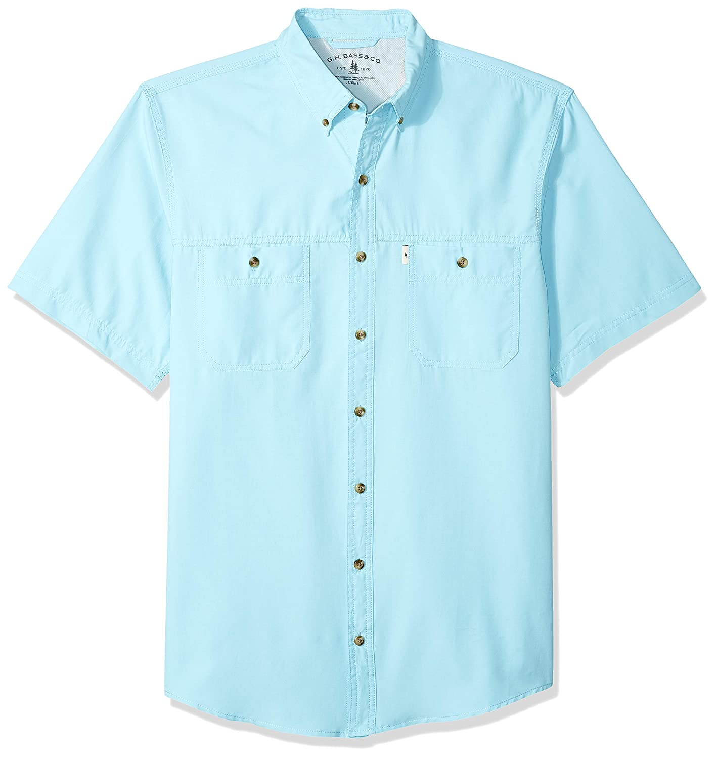 Bass /& Co G.H Mens Big and Tall Explorer Short Sleeve Fishing Shirt Solid Button Pocket