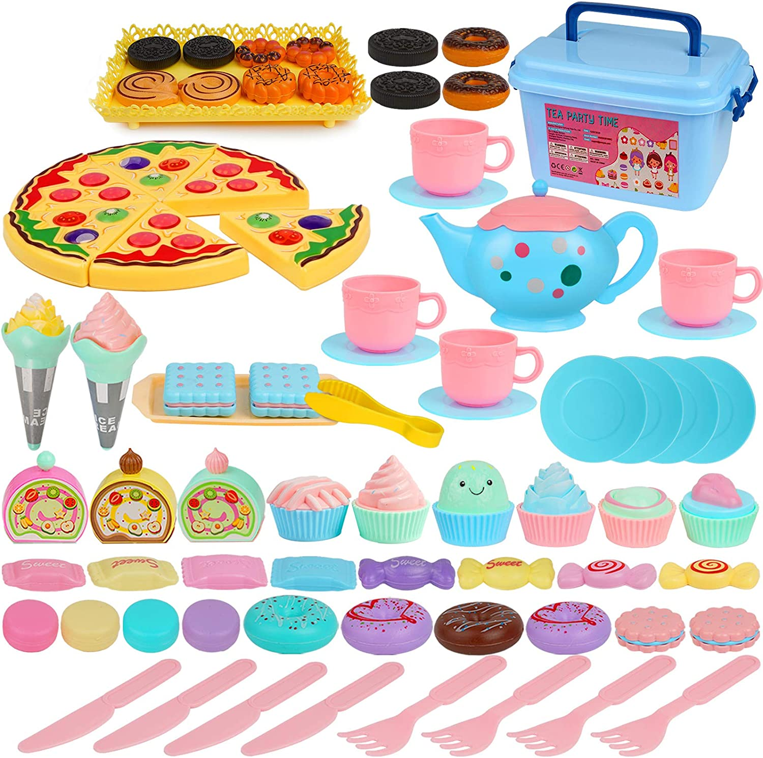 COSILY Kids Tea Set 74 PCS Pretend Play Food Sets for Kids Including Plastic Teapots Teacups Cookies Cakes Donuts for Toddlers Boys and Girls